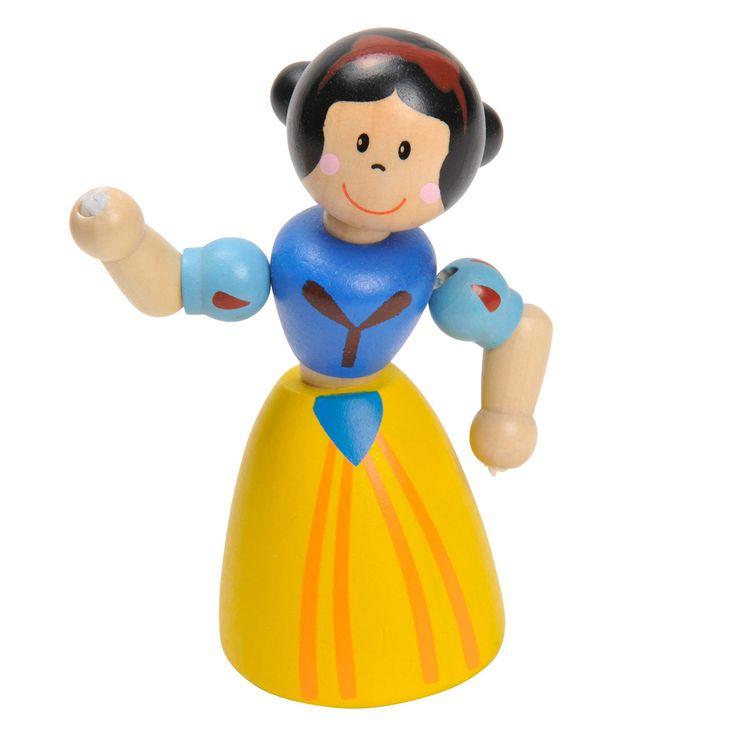 Beleef koninklijke avonturen in je poppenhuis of kasteel met deze houten prinses met zwart haar. De armen, het hoofd en het lijfje van deze pop kun je bewegen, waardoor het spel nog realistischer wordt. Combineer met de andere prinsessen en ridders uit de serie. Afmeting: lengte 10,5 cm - Houten Flexibele Prinses Zwart Haar