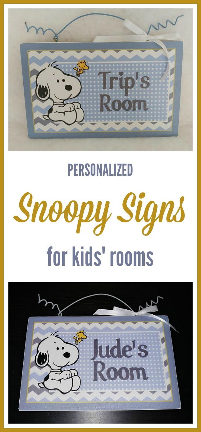Chevron Snoopy and Woodstock door hanger sign for baby nursery or kids room. Personalized with child's name. #Snoopy #woodstock  #chevron  #affiliate