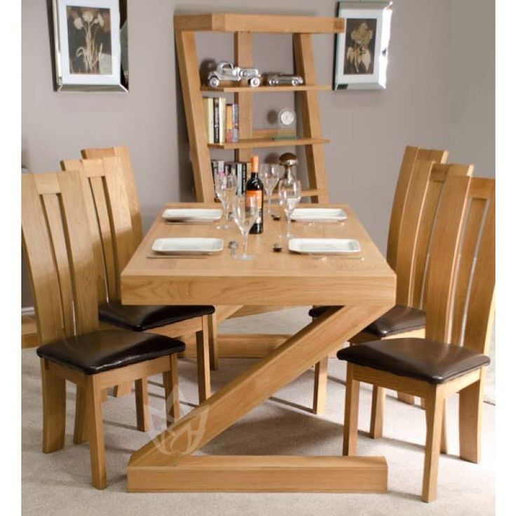 Z Oak Designer X Dining Table And 6 Venezia Bycast Leather Chair Set