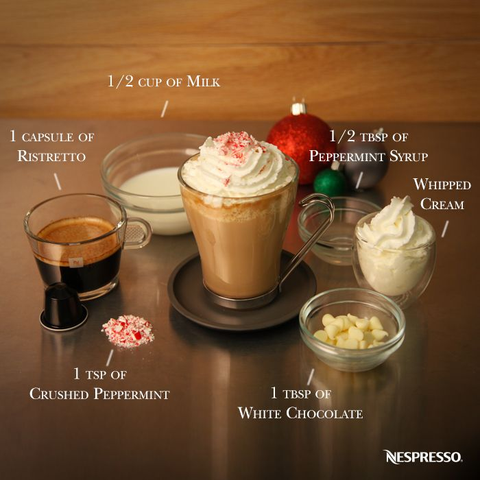 Ultimate Coffee Creations by Nespresso | We're dreaming of a White Chocolate Peppermint Mocha. Click here to discover a collection of the ultimate espresso based recipes.