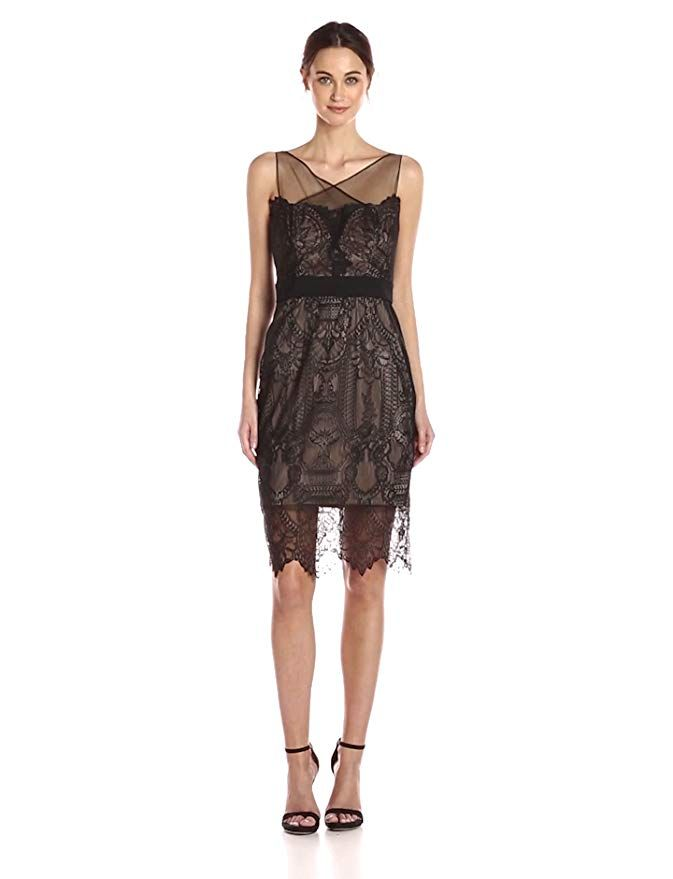 fe4a5b98e9  Vera Wang Women s Sleeveless Lace Cocktail Dress with Illusion Neckline