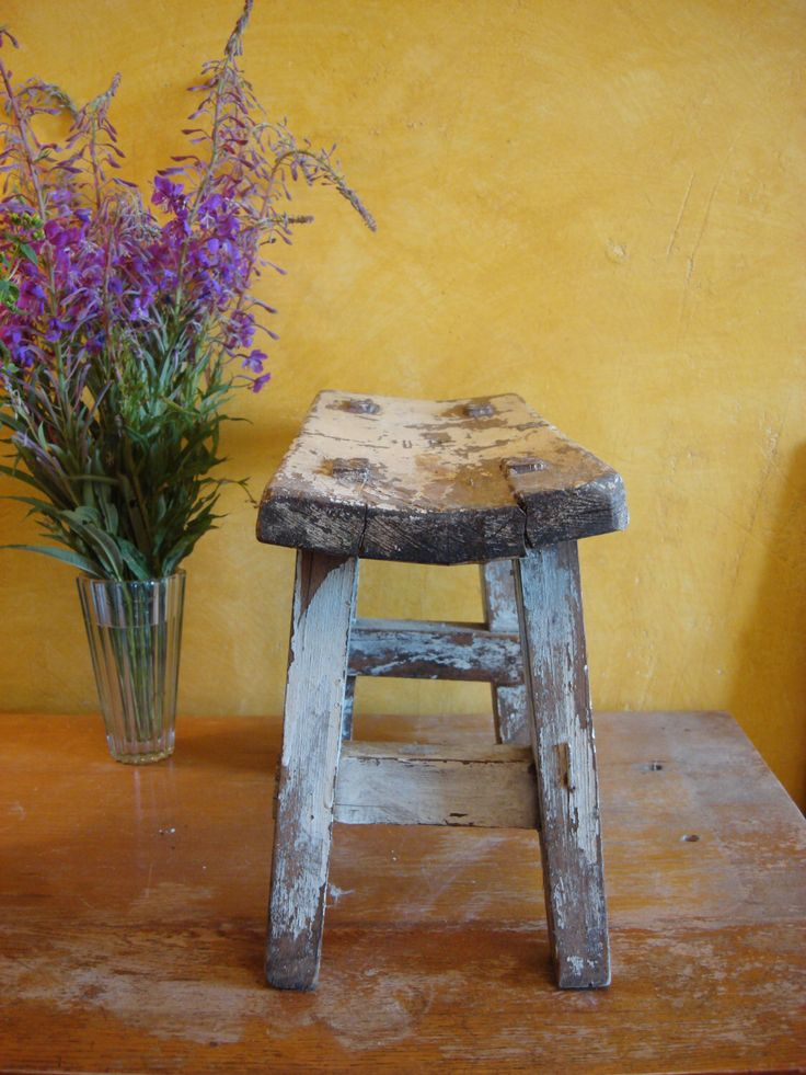 antique shabby chic stool small footstool primitive furniture soviet vintage 50s by on etsy