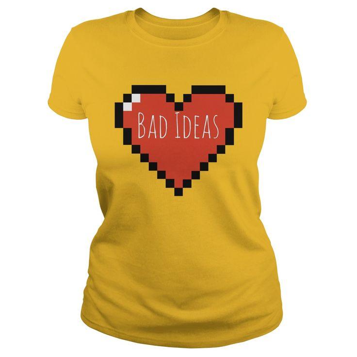 Love, bad ideas! Funny pixel heart shirt design, minimalist tee, hoodie