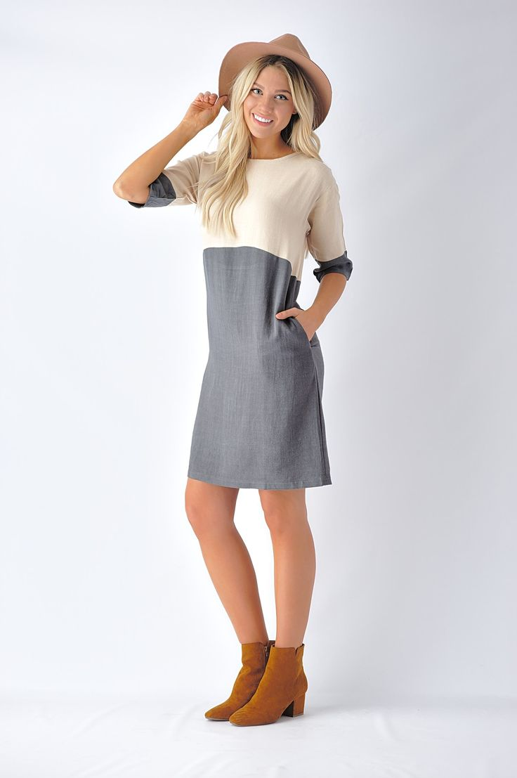 Ivory and Contrasting Color Sack Dress