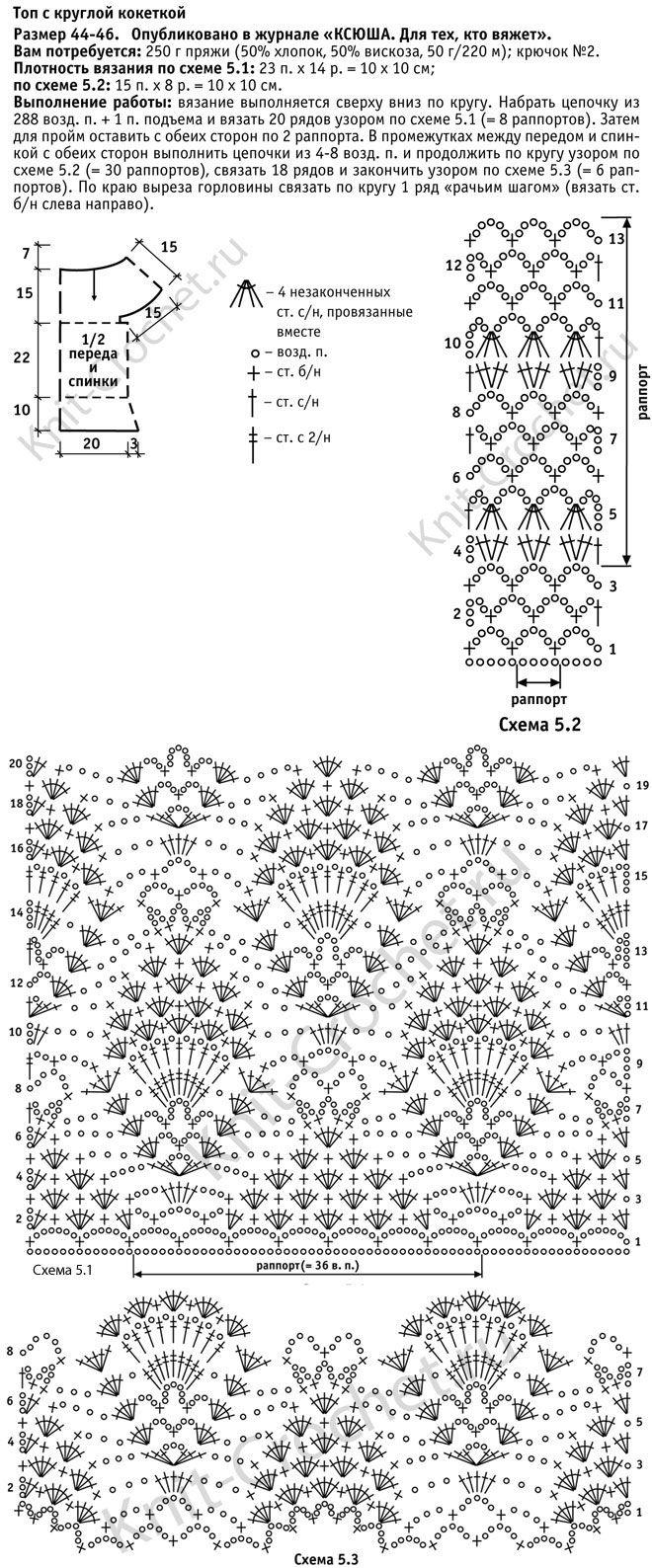 Выкройка, схемы узоров с описанием вязания крючком женского топа c круглой кокеткой размера 44-46.
