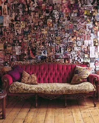 A giant wall-covering fashion collage from photos, magazine pages, posters, etc. looks really neat and artsy as an acccent wall in your room.