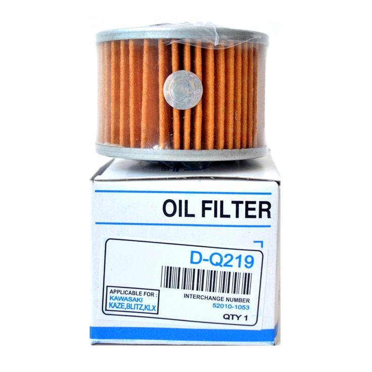 Ken Filter Oli DQ219 Kawasaki Kaze / Blitz / KLX  Oli mesin berangsur angsur akan menjadi kotor bercampur dengan carbon, endapan lumpur, kotoran lainnya.  Filter Oli dibutuhkan untuk menyaring kotoran kotoran tersebut.  Sebaiknya ganti Filter Oli setiap 2 atau 3 kali ganti oli.