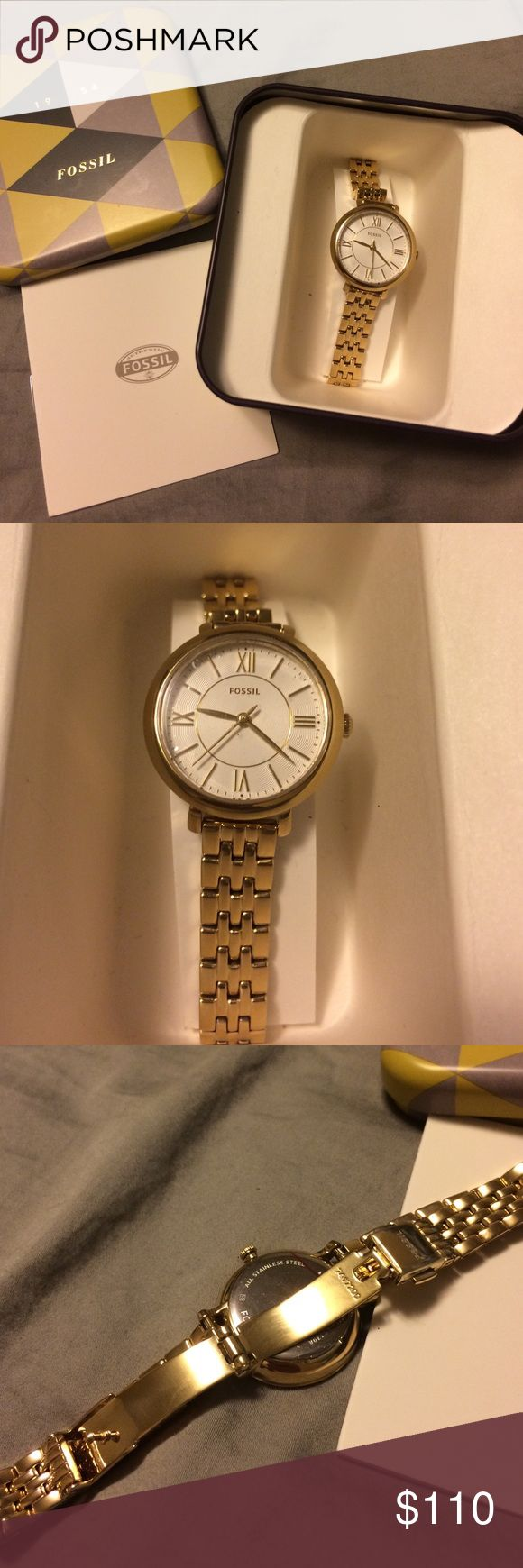 Gold Fossil Watch -Jacqueline Collection- NWOT Women's gold tone stainless steel Fossil watch-- NWOT and never been worn! Jacqueline collection- 26 mm. Water resistant 3 ATM. The watch face still has the sticker on and battery is fully functional. Comes with original box. Fossil Accessories Watches