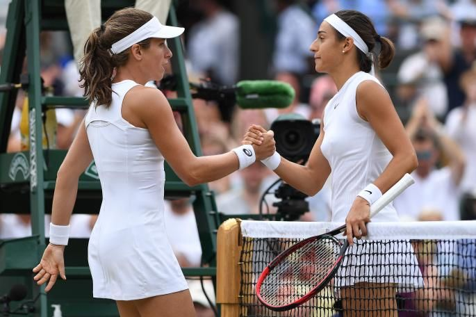 Johanna Konta has become the first British woman to reach the quarter-finals of Wimbledon since Jo Durie in 1984 after beating Caroline Garcia 7-6 (7-3), 4-6, 6-4 this afternoon.  The 26-year-old threw her racket in the air and dropped to her knees after securing the victory against Garcia to reach her third grand slam quarter-final. She goes on to face Simona Halep, the Romanian second seed.