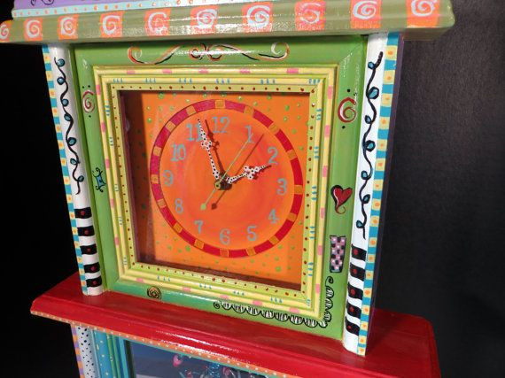 Hand Painted Clock By BrilliantlyFunky On Etsy