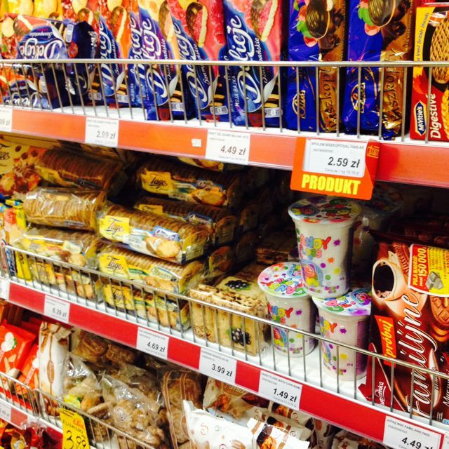 In a supermarket: sweets.