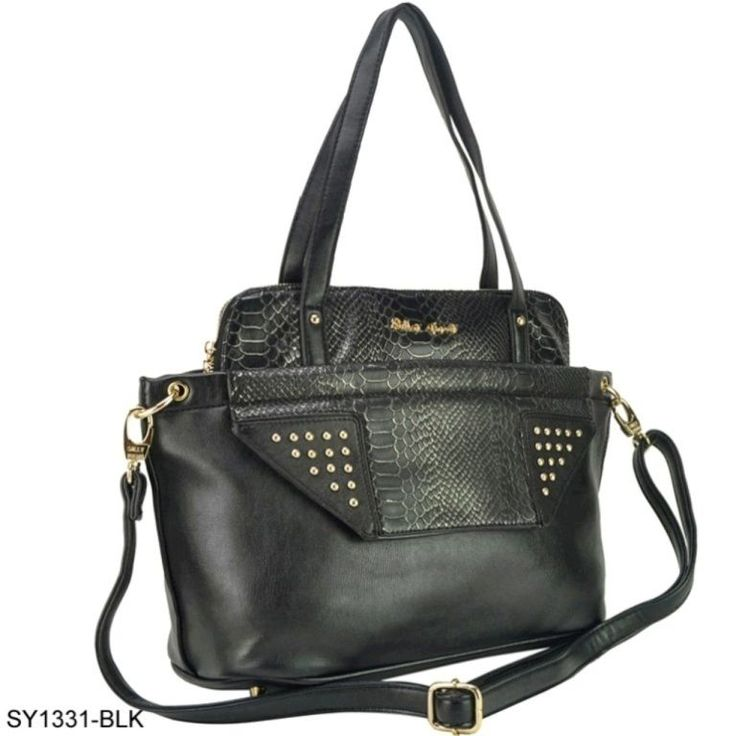 SY1331 Black-Stud Tote Bag With Crocodile Grain in Clothes, Shoes & Accessories, Women's Handbags | eBay
