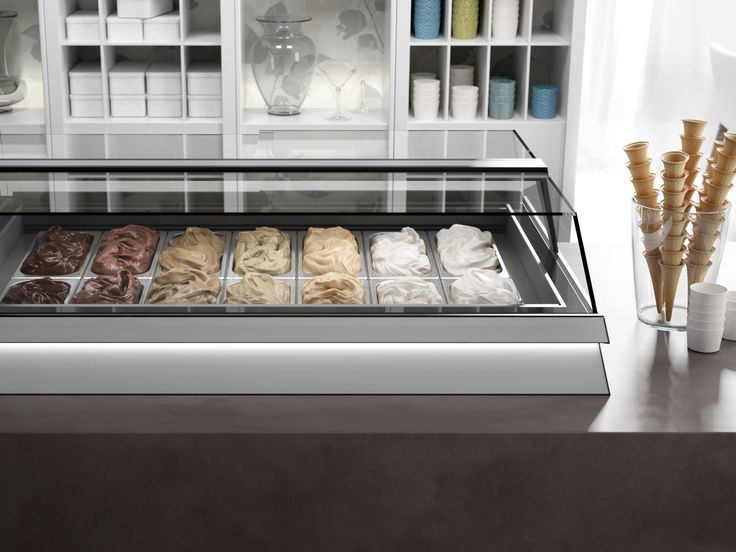 """Jobs is a showcase with a strong character but a great discretion. In fact, you can easily """"place"""" it on any working top or counter. #orionjobs #orionstyle #icecream #pastry #display #cabinet #design #furniture #thinklateral"""