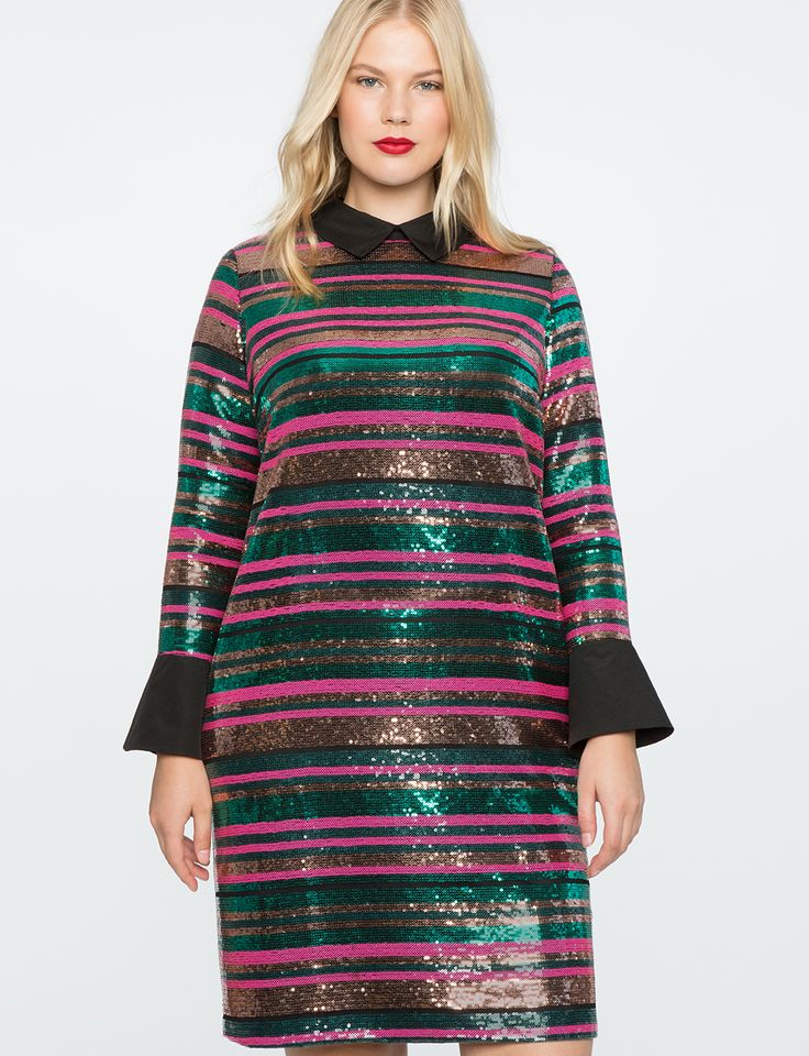 Striped Sequin Dress with Collar Multi-Color Sequin
