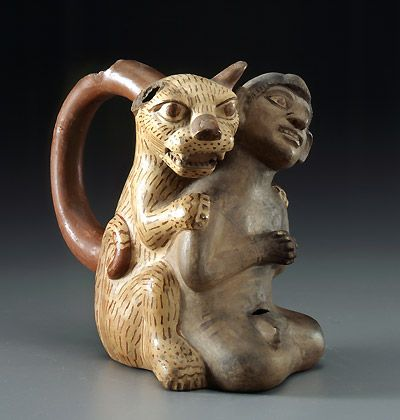 Jaguar and man, Vessel of a Man and a Jaguar    Early Intermediate Period (200 BC to 600 AD) Moche (Mochica) People Trujillo, Peru