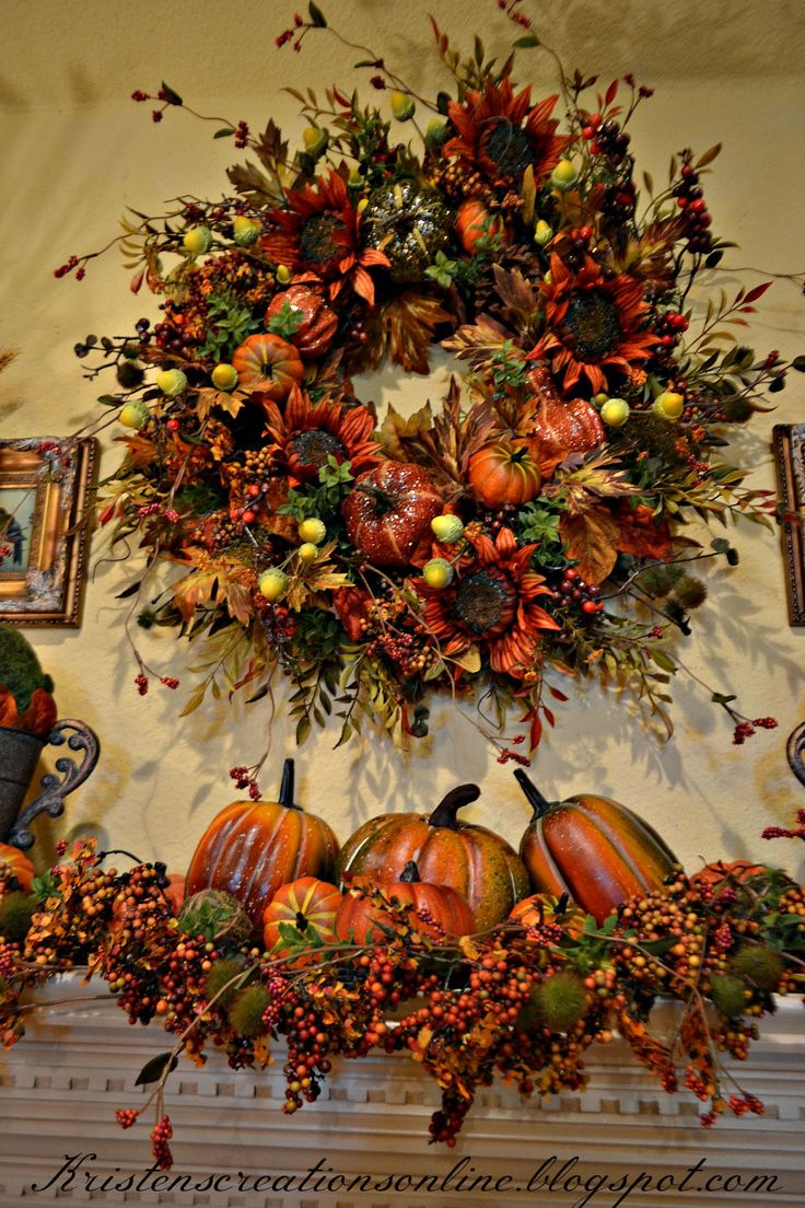 Top 100 mantel decorating ideas for thanksgiving image - Kristen S Creations Fall Mantel 2015