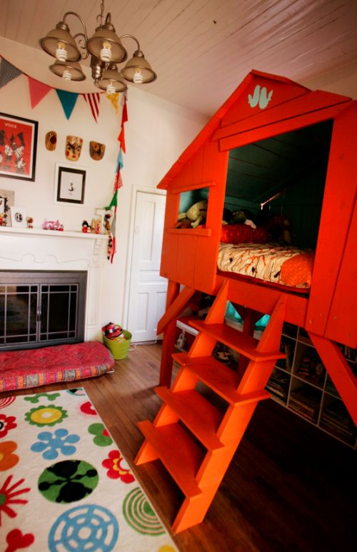 Are you ready for an orange treehouse kid's bed? YES!   Offbeat Mama