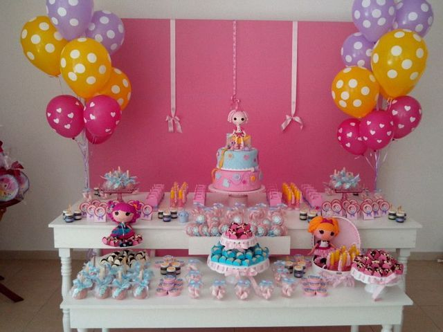 Pretty dessert table at a Lalaloopsy party!  See more party ideas at CatchMyParty.com!  #partyideas #lalaloopsy
