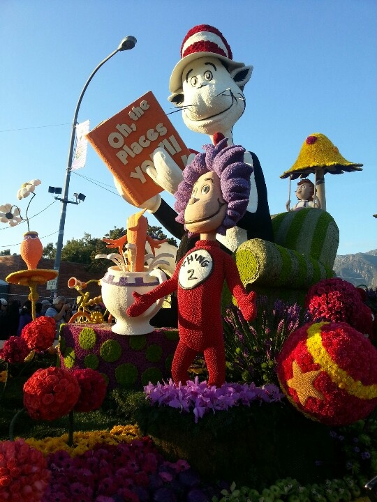 "Rose Parade!  Dr. Suess float with lots of flowers and the ""things""!"