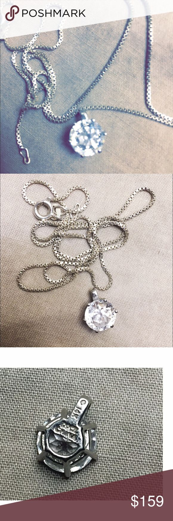 """2 carat Diamonique 14k necklace Yes! It's that stone that even fools jewelry experts! Looks EXACTLY like a diamond, sparkles brilliant & brightly, the cut is amazing, it's very bright & beautiful, outside the sun catches it like crazy 😜! 14k white gold pendant & bale, sterling 18"""" box chain. Will come gift boxed. Purchased from QVC jewels, 2015. Nobody will know it's not real! Guaranteed👌🏼❌pp/trades/other websites. Reasonable offers please, lowball offers are ignored. free 🎁‼️ qvc…"""