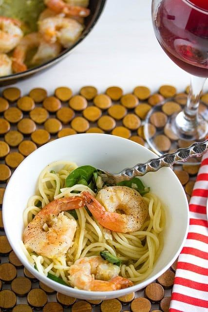 Shrimp scampi with wilted spinach