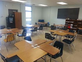 Middle school math classroom desk arrangement and blog about grouping students.