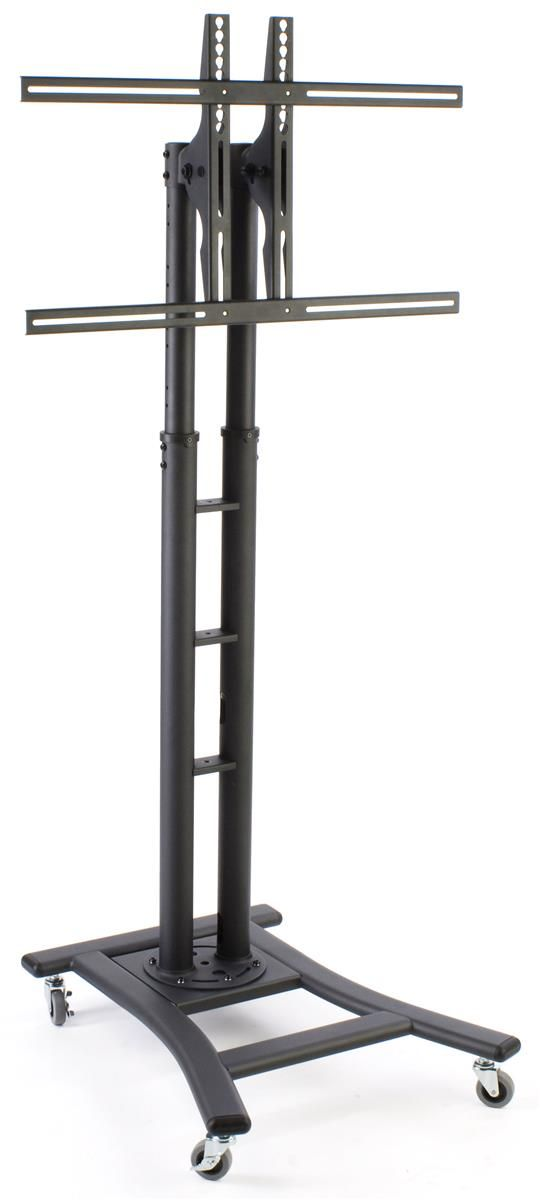 """TV Stand with Wheels, Fits Monitors 32"""" to 65"""", Height-Adjustable – Black"""
