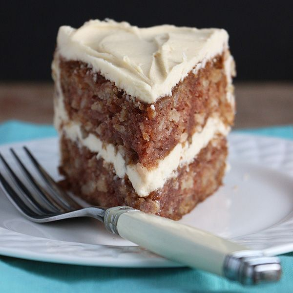 Welcome the start of apple season with this easy recipe for moist delicious recipe for Apple Cake with Maple Buttercream and Walnuts