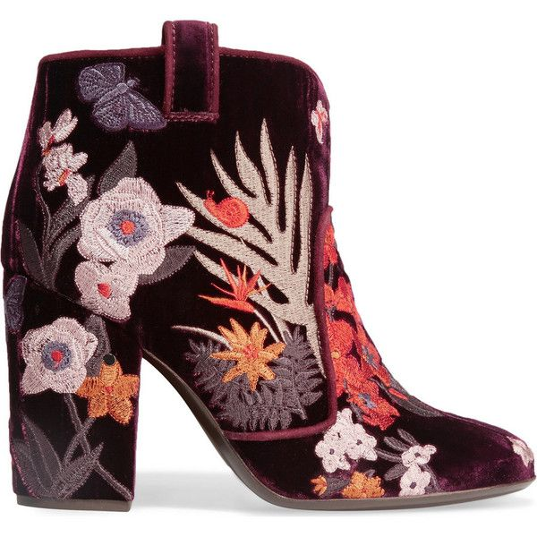 Laurence Dacade Pete embroidered velvet ankle boots ($805) ❤ liked on Polyvore featuring shoes, boots, ankle booties, burgundy, high heel boots, burgundy bootie, high heel ankle boots, burgundy booties and bootie boots