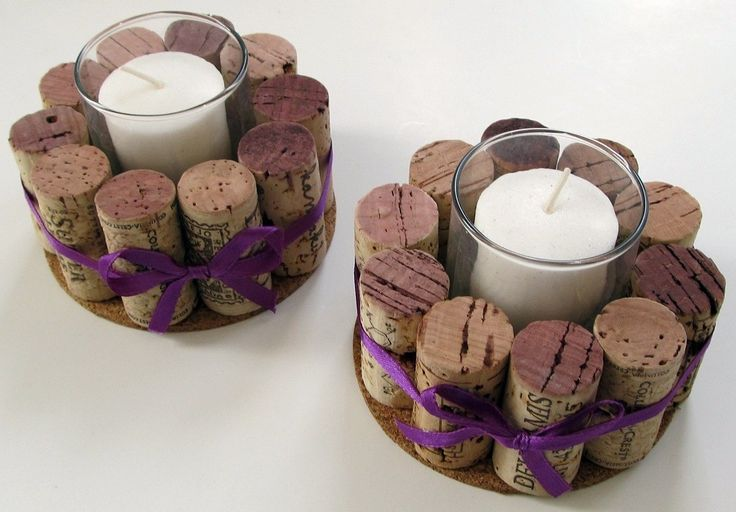 Wine Cork Votive Holders with Purple Ribbon-Set of Two- Wedding, Holidays, Hostess Gift, Romantic Dinner, Home Decor by LizzieJoeDesigns on Etsy https://www.etsy.com/listing/61557950/wine-cork-votive-holders-with-purple