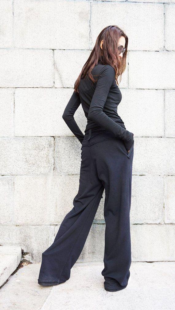 Pantaloni neri di cotone sciolto / gamba larga pantaloni
