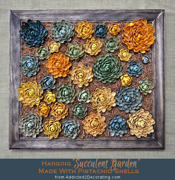 Isn't this gorgeous? It's a faux succulent garden made with dyed pistachio shells