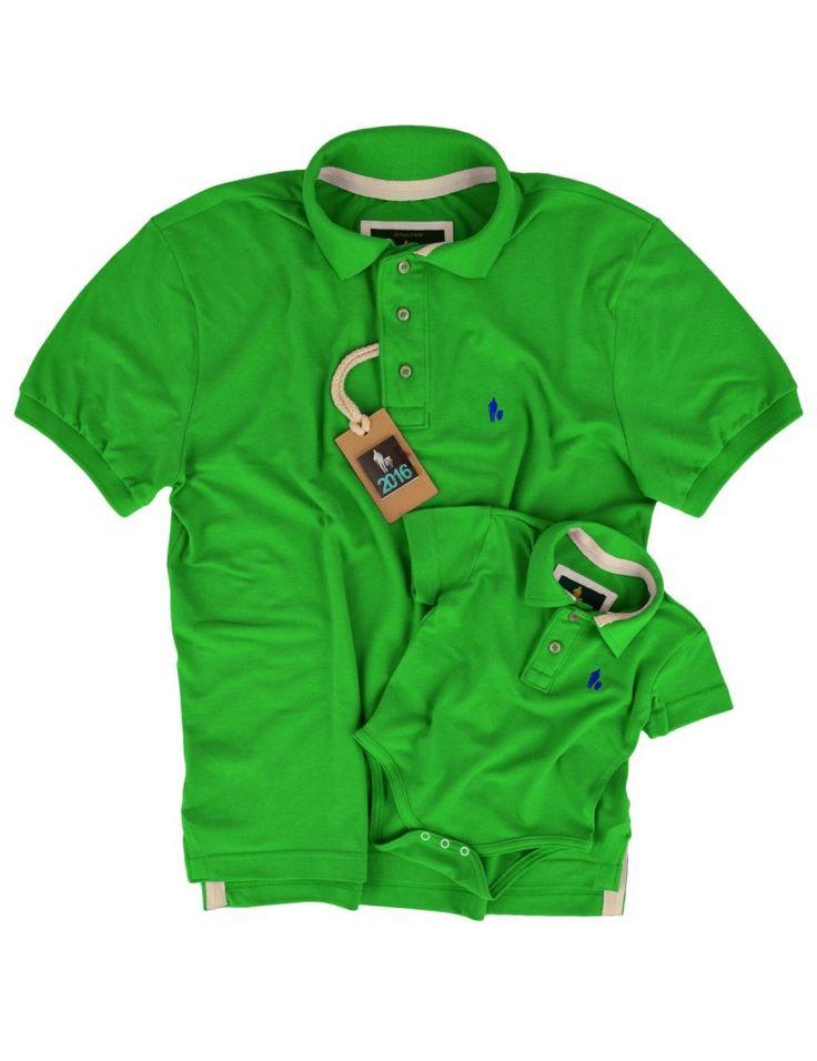 Kit Camisa Polo Tal Pai Tal Filho Verde Limão, Dica Foto Moda Pais e filhos