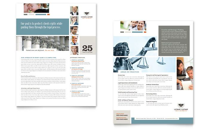 Family Law Attorneys Datasheet Template Design by StockLayouts
