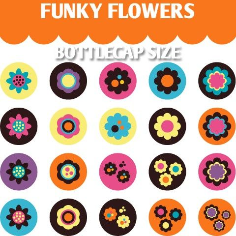 Funky Flowers 02114  Printable Bottle cap images by blessedgrafik