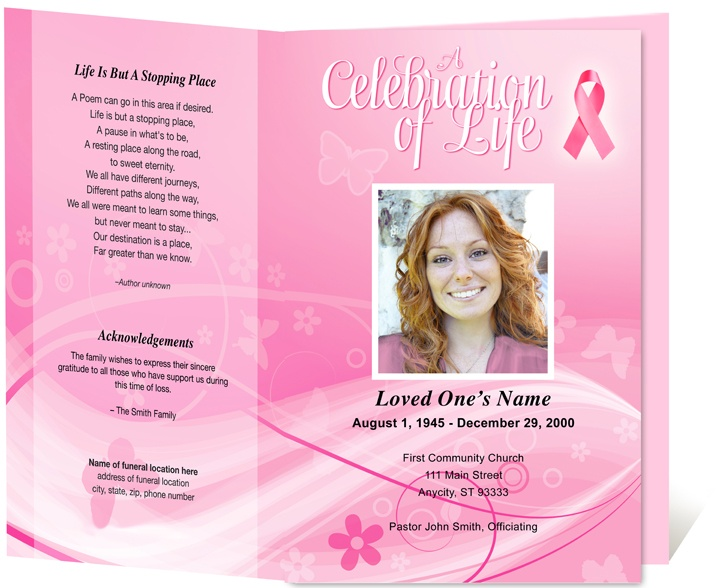 Cancer Awareness Memorial Service Program Template obituary - free memorial service program