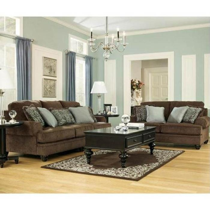 Brown Living Rooms: Ashley Chocolate Microfiber Sofa