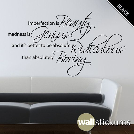 Marilyn Monroe Wall Decal Quote Vinyl Imperfection Is Beauty 2 Living Room  Bedroom Decor Part 90