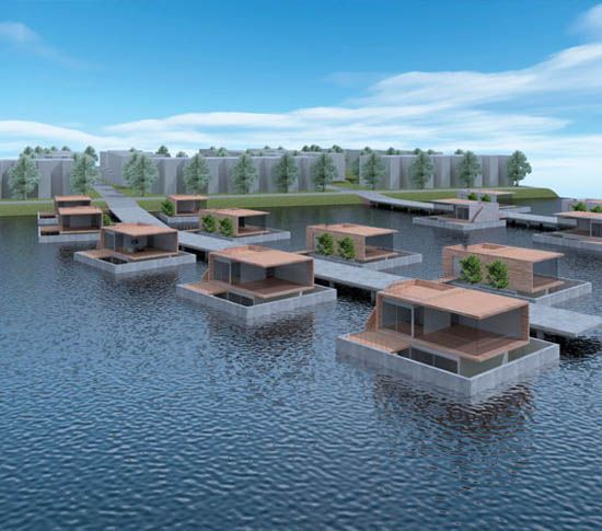 Floating homes | Moderne drijvende woningen | watervilla | woonboot | houseboats by architect Amsterdam