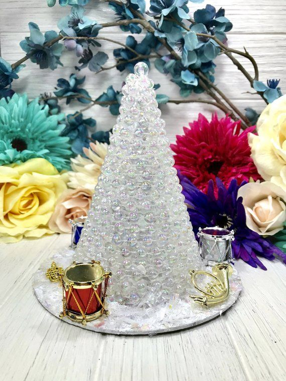 Handmade Clear Iridescent Pearl Decorated Christmas Tree With Musical Instruments Christmas Decoration Table Mantle Decoration Coffee Table Christmas Tree Decorations Christmas Table Decorations Handmade Christmas Tree