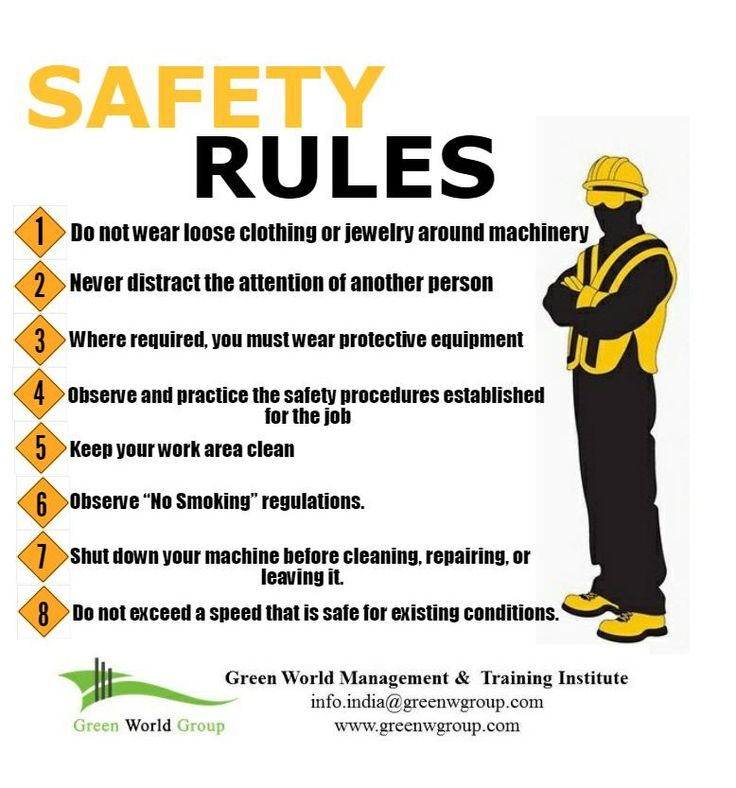 Safety rules in work place