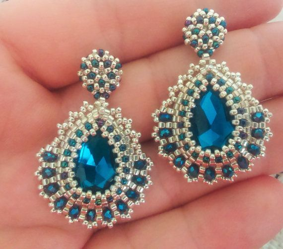 Montana Blue Crystal Drop Dangle Earring Studs by Marzenabeadwork