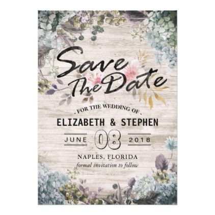 Wedding Save The Date Botanical Floral Rustic Wood Card - bridal shower gifts ideas wedding bride