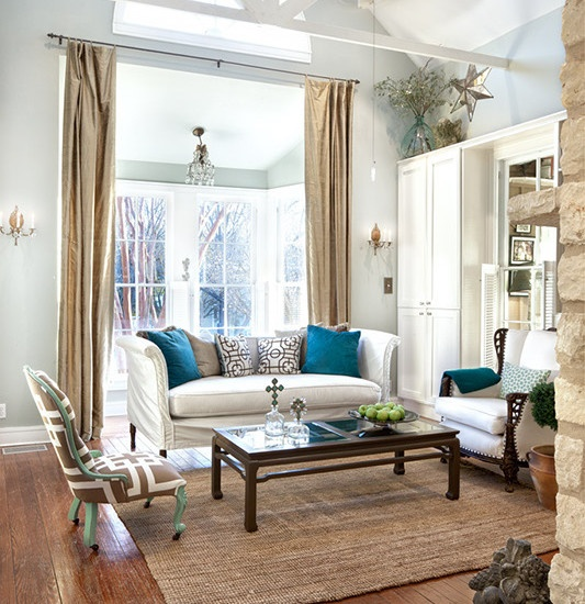 White Couches turquoise accents