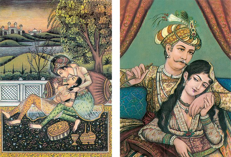 Emperor Akbar with his Consort Maryam - (Set of Two) (Reprint on Card Paper - Unframed)