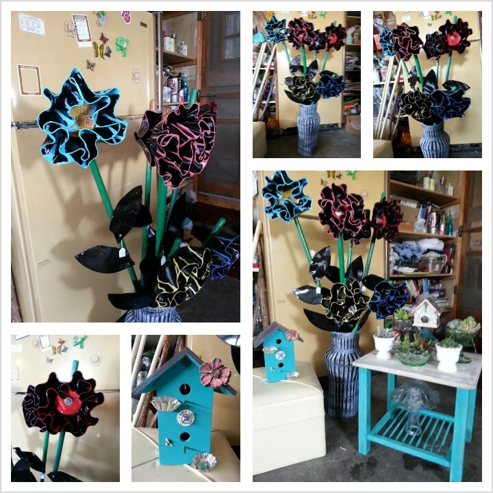 Some of my moms awesome projects flowers from old vinyl for Crafts with old records