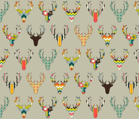 RETRO DEER HEAD STONE fabric by scrummy on Spoonflower - custom fabric