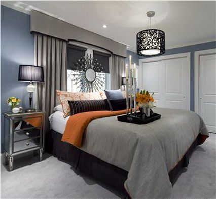 32 best BlueGray Orange Bedroom images on Pinterest Bedrooms