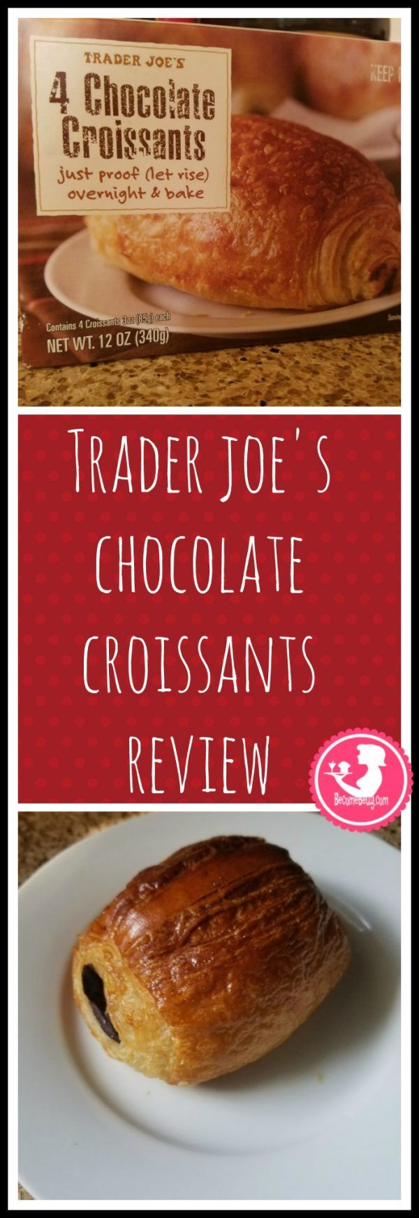 Trader Joes Chocolate Croissants are frozen and delicious. Want to know if this is something worth buying from Trader Joe's? All pins link to BecomeBetty.com where you can find reviews, pictures, thoughts, calorie counts, nutritional information, how to prepare, allergy information, and how to prepare each product.