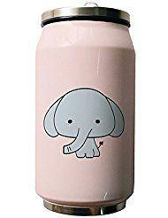 okoukiu Cute elefante rosa doble vacío aislado botella de agua de acero inoxidable, 500 ml